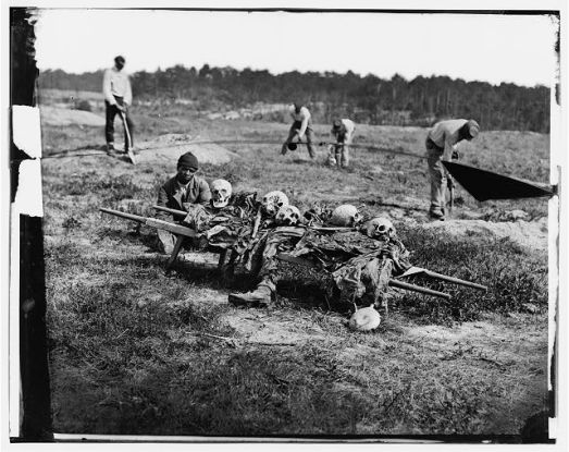 Cold Harbor, Va. African Americans collecting bones of soldiers killed in the battle
